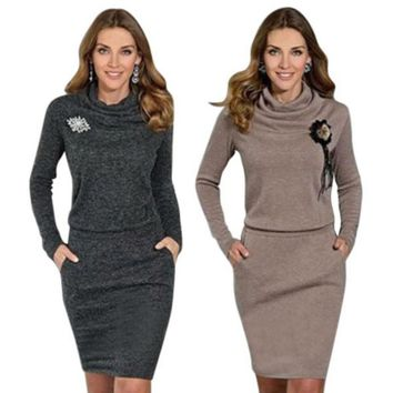 Women New Bodycon Pullover Wrap Dress Autumn High Collar Long Sleeve Slim Hoodied Dresses
