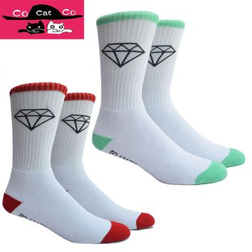 Half Terry Classic Diamond Socks Men Thick Towel Cotton Mens Sock Brand Sox Compression 253w