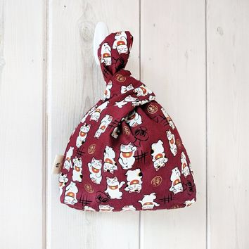 Knot Bag Wristlet - Maneki Neko Red