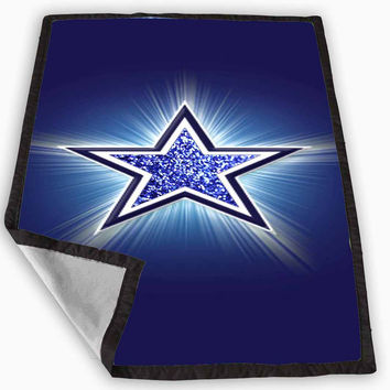 logo dallas cowboys blue glitter sparkle Design Blanket for Kids Blanket, Fleece Blanket Cute and Awesome Blanket for your bedding, Blanket fleece *