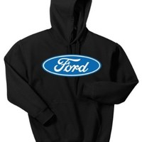 Ford Logo Mens Sweatshirt, Licensed Ford Motor Company Emblem Pullover Hoodie