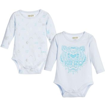 Kenzo Baby Boys Blue Romper 2-Piece Gift Set