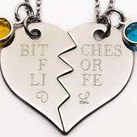 Bitches For Life Necklace Set |Personalized Engraved Gift For Best Friend | Custom Birthstone Best Friend Gift | Best Bitches Jewelry