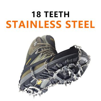 YUEDGE Stainless Steel 18 Teeth Universal Anti Slip Ice Snow Shoe Boot Grips Traction Cleats Crampon Spikes