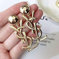 YSL Fashionable Women Letter Pendant Earrings Accessories Jewelry Golden