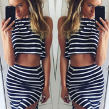 Seductive Two Pieces Women Stripes And Sleeveless Bodycon Dress Black