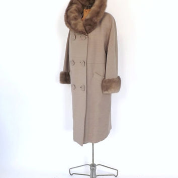 Vintage 1950s 60s Golet Original Peau de Faille Cream Wool Coat Fur Trim Winter Coat Hollywood Glamour Mad Men Medium Swing Coat