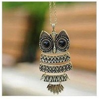 """Acczilla Lovely Bronze Textured Owl Pendant With 25"""" Chain"""