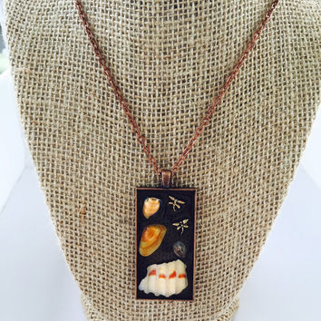 Shells and Dragonfly Charm necklace, Antiqued Resin and Shell Jewelry, St. Pete Beach Shells, Beach Finds Necklace, N99-1