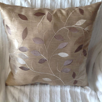 """Beige Embroidered Throw Pillow(BUY 2 GET 10"""" x 17"""" FREE)"""