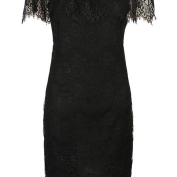 Black Off Shoulder Open Back Eyelash Trims Lace Bodycon Dress
