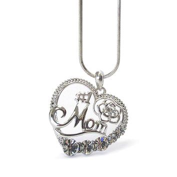 Mothers Day Crystal #1 Mom Heart Pendant Necklace