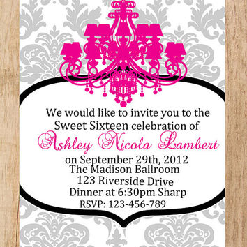 Customized Chandalier Quinceanera Invitation -  Sweet 15 Invite - Sweet 16  DIY Printable