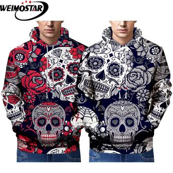 Weimostar Mens Halloween Casual Street Clothing 3D Printed Funny Skulls And Deer Hoodies Sports Big Size Best Selling Sportswear