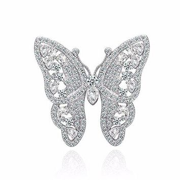GULICX Shinning Butterfly Brooch Pin Silver Plated Base Party Gift with Full White Cubic Zirconia