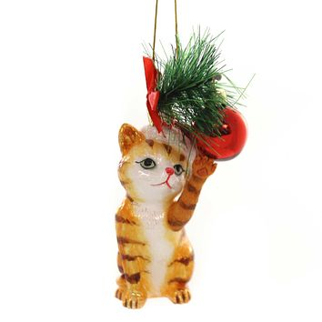 Noble Gems CAT WITH BALL ORNAMENT Glass Kitten Christmas Meow Nb1141 Orange