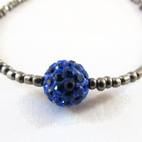 Gunmetal and blue stacking bracelet , gunmetal grey seed bead with glittery blue shamballa bead beaded simple bracelet , uk seller