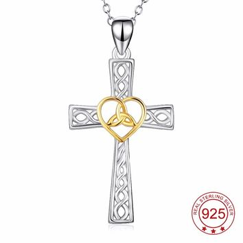 YFN Genuine 925 Sterling Silver Cross Pendant Necklace Love Heart Celtic Knot Jewelry For Women