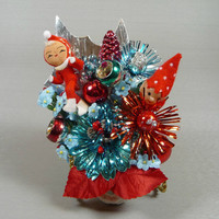 Christmas Corsage Vintage Elves Retro Indent Mercury Glass Aqua Red Atomic Mid Mod Sparkle Christmas Decoration