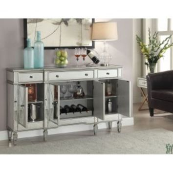Coaster Company Silver Mirrored Finish Wine Cabinet Item: 102595 | Gifts for You 'n Me