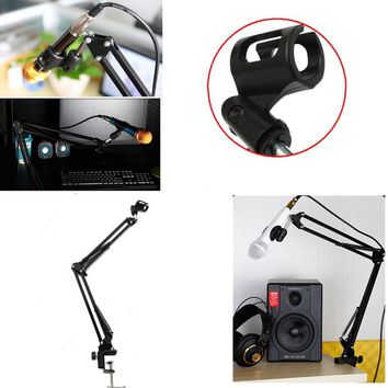 Professional Suspension Boom Scissor Arm Recording Microphone Mic Stand Holder Black