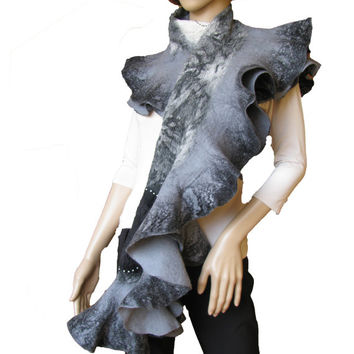 FREE SHIPPING Handmade Nuno felted ruffle scarf shawl wrap Marble Black , white and gray Hand Felted Ready to ship OOAK