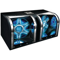 DUAL BP1204 Dual 12 Bandpass Subwoofer W/Carpeted Enclosure & Blue Lights