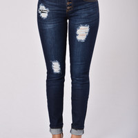 In Destruction Skinny Jeans - Blue Black