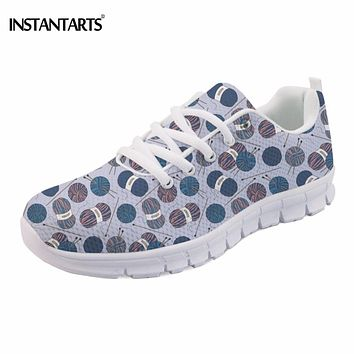 INSTANTARTS Knitting Yarn Pattern Women's Flats Breathable Light Mesh Sneakers for Woman Girls Cute Students Casual Flat Shoes