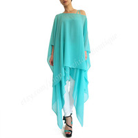 OCEAN two-pieces chiffon tunic top off-shoulder blouse summer evening cocktail plus size maternity tank women beach cover up beachwear