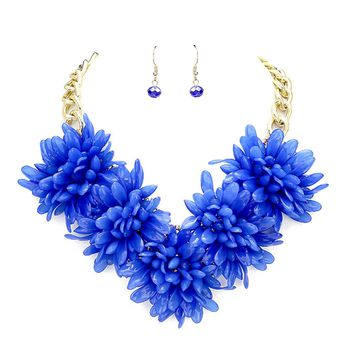 Beatnix Fashions Blue Flower Statement Necklace & Earring Set