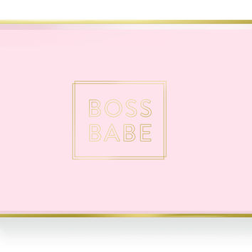 Boss Babe Lacquered Tray in Pink and Gold