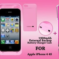 1900 mAh Portable Pink Ultra Slim External Backup Charger Battery Case For Apple iPhone 4 4G & 4S + Free HSINI Stylus Pen