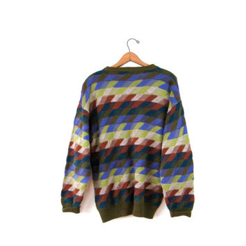 Vintage 1970's Coogi Style Italian Knit Progetto Graphic Sweater Sz M