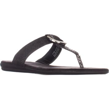 Aerosoles Supper Chlub Thong T-Strap Flat Sandals, Black Snake, 6 US