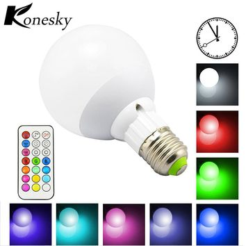 10W 800LM E27 RGB LED Light Bulb for Home 12 Color Cool/Warm White Dimmable Lamp with Remote Control Timing Function DC 85-265V