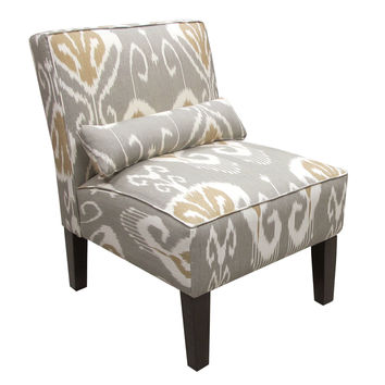 Bergman Armless Chair, Gray/White Ikat, Accent & Occasional Chairs