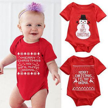 Newborn Baby Girls Boys Christmas Romper Santa Claus Bodysuit snowflakes Jumpsuit baby Outfit Set Christmas Costume