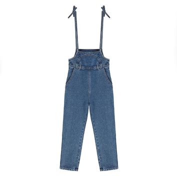 2018 new blue jean denim jumpsuits women long sleeve full length casual rompers plus overalls women bandage playsuits sexy