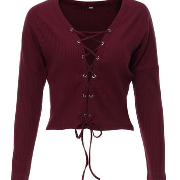 Red Plunge Neck Lace Up Front Knit Cropped Jumper