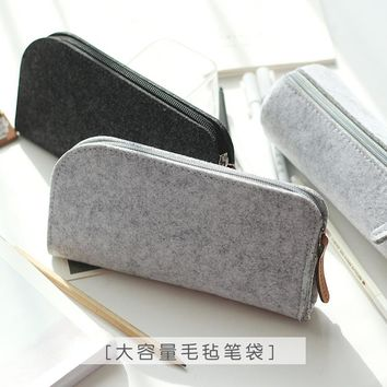 Minimalist felt pencil bag fabric pencil case pencil box School Supplies Office Supplies