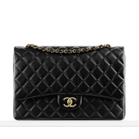 Large classic flap bag in quilted... - CHANEL