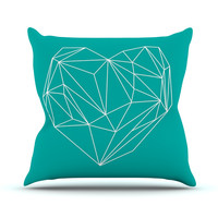 "Mareike Boehmer ""Heart Graphic Turquoise"" Teal Abstract Throw Pillow"