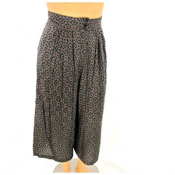 Paisley gaucho pants / size L 13 / 14 /  80's boho, hippie culottes / paisley wide leg pants / retro palazzo pants / made in USA /Sunny Boho
