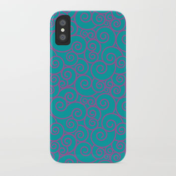 Vintage Green Spiral iPhone Case by vanessavolk