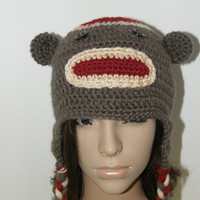 Adult Sock Monkey Earflap Hat