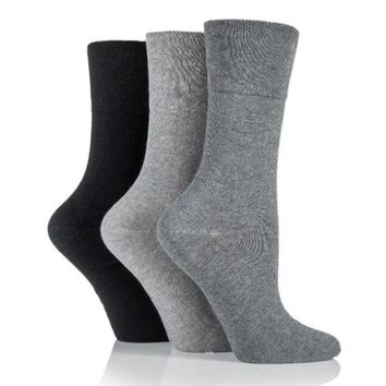 Non Binding Socks for Women in Grey, Charcoal & Black