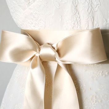 Champagne Gold Ribbon Sash ~ 2 Inches Wide