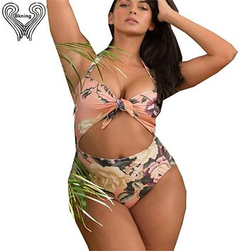 L-XXXL Plus Size Swim Suit Push Up One Piece Swimsuit Knot Tie Front Swimwear Women 2019 Sexy Badpak Fused May Cut Out Monokini