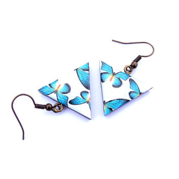 Turquoise butterfly  earrings, Turquoise jewelry, Turquoise earrings, Turquoise Butterfly, Butterfly, Triangle, Triangle earrings, Gift